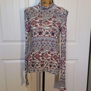 Lucky Brand Womens Printed Linen Blend Long Sleeve